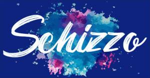 parola schizzo di grafica di colore bianco con sfondo sfumature di blu